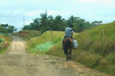 Riding a vehicle that runs on biodegradable fuel.  Costa Abajo, Panama